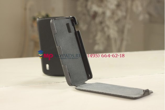 Чехол-флип для LG Nexus 4 E960 черный кожаный