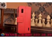 Фирменный чехол-книжка с подставкой для LG Google Nexus 4 E960 красный..
