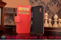 Фирменный чехол-книжка с подставкой для LG Google Nexus 4 E960 красный