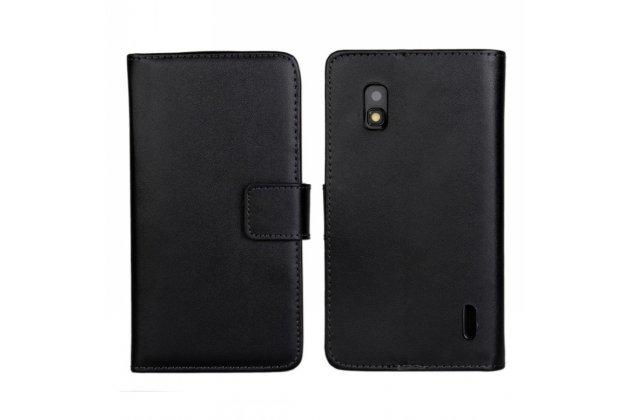 Фирменный чехол-книжка с подставкой для LG Google Nexus 4 E960 черный