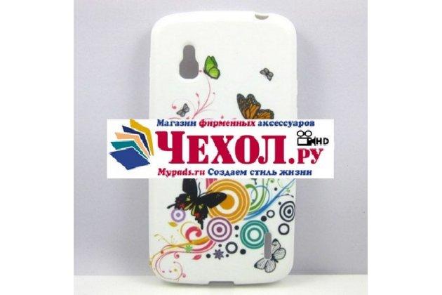 """Фирменная ультра-тонкая полимерная из мягкого качественного силикона задняя панель-чехол-накладка для LG Google Nexus 4 E960 тематика """"Радужные бабочки"""""""