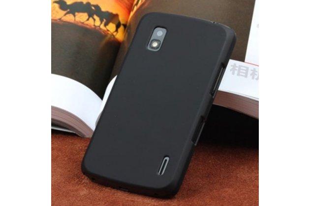 Фирменная ультра-тонкая полимерная из мягкого качественного силикона задняя панель-чехол-накладка для LG Google Nexus 4 E960 черная