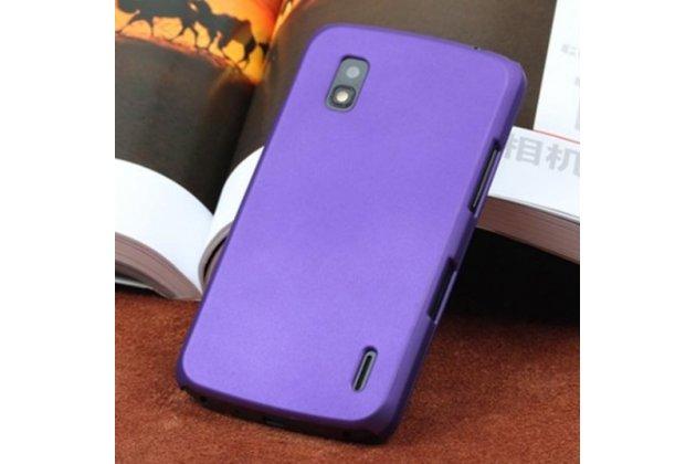Фирменная ультра-тонкая полимерная из мягкого качественного силикона задняя панель-чехол-накладка для LG Google Nexus 4 E960 фиолетовая