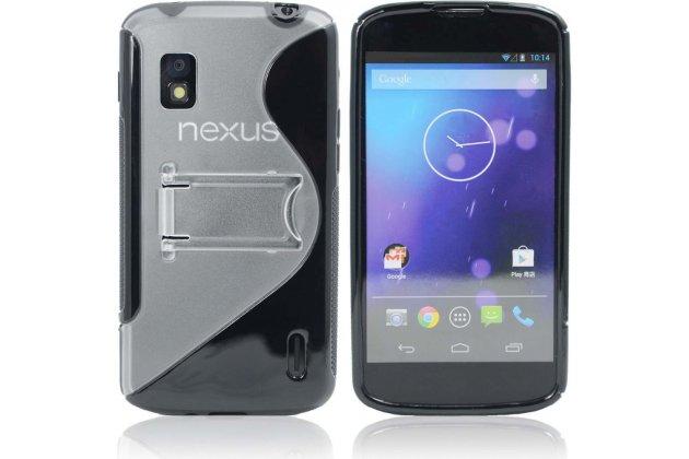 Фирменная ультра-тонкая полимерная из мягкого качественного силикона задняя панель-чехол-накладка для LG Google Nexus 4 E960 черная с подставкой