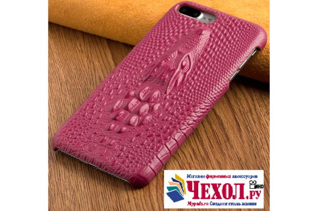 Фирменная роскошная эксклюзивная накладка с объёмным 3D изображением кожи крокодила розового цвета для HTC One A9s. Только в нашем магазине. Количество ограничено.