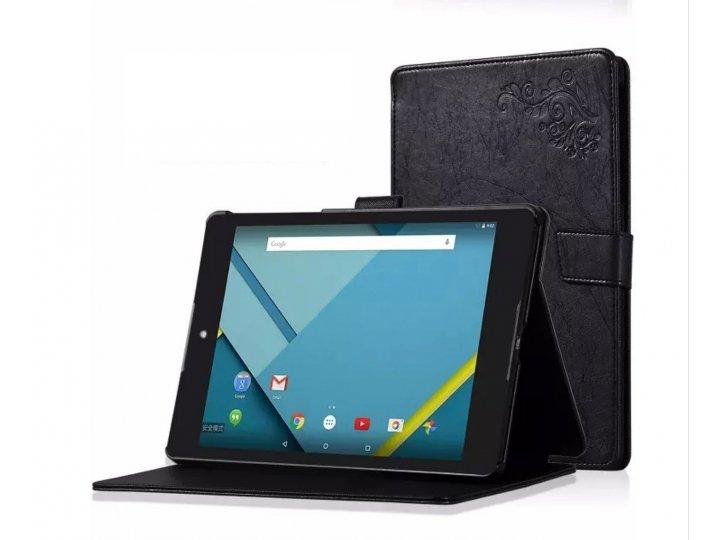 Фирменный чехол бизнес класса для HTC Google Nexus 9 с узором черный натуральная кожа