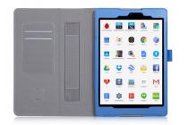 """Фирменный чехол бизнес класса для HTC Google Nexus 9 с визитницей и держателем для руки синий натуральная кожа """"Prestige"""" Италия"""