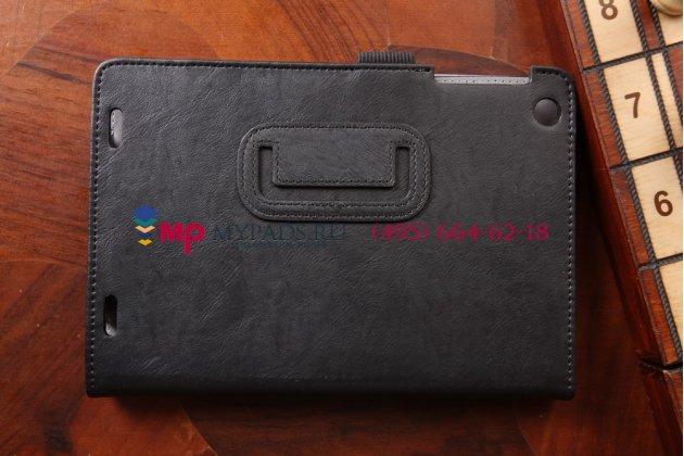 """Фирменный чехол-книжка для HP 8 1401 черный натуральная кожа """"Prestige"""" Италия"""