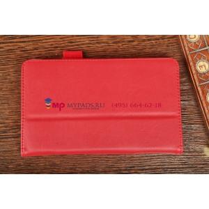 Чехол-обложка для HP Slate 7 красный кожаный