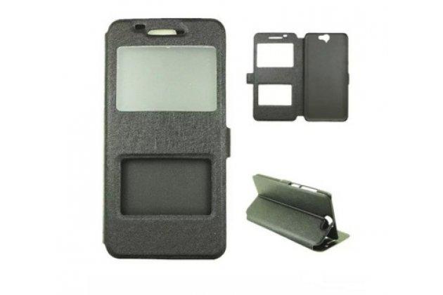 """Фирменный чехол-книжка для  HTC One A9/HTC Aero/HTC A9w 5.0""""  черный с окошком для входящих вызовов и свайпом водоотталкивающий"""