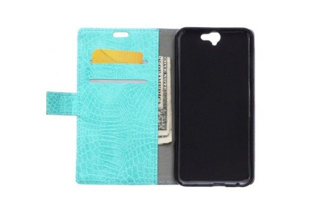 """Фирменный чехол-книжка с подставкой для HTC One A9/HTC Aero/HTC A9w 5.0""""   лаковая кожа крокодила цвет морской волны"""