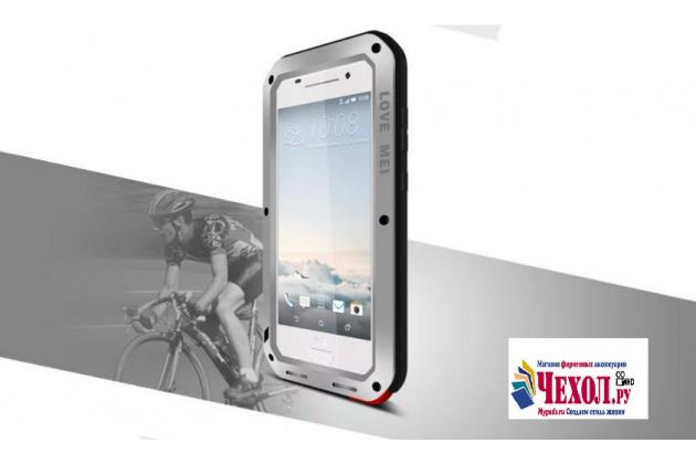 """Неубиваемый водостойкий противоударный водонепроницаемый грязестойкий влагозащитный ударопрочный фирменный чехол-бампер для HTC One A9/HTC Aero/HTC A9w 5.0"""" цельно-металлический со стеклом Gorilla Glass серебряный"""