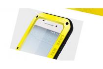 """Неубиваемый водостойкий противоударный водонепроницаемый грязестойкий влагозащитный ударопрочный фирменный чехол-бампер для HTC One A9/HTC Aero/HTC A9w 5.0"""" цельно-металлический со стеклом Gorilla Glass желтый"""