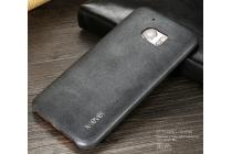 """Фирменная премиальная элитная крышка-накладка из тончайшего прочного пластика и качественной импортной кожи  для HTC 10 / HTC One M10 / Lifestyle 10 5.2""""  """"Ретро под старину"""" черная"""