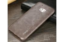 """Фирменная премиальная элитная крышка-накладка из тончайшего прочного пластика и качественной импортной кожи  для HTC 10 / HTC One M10 / Lifestyle 10 5.2""""  """"Ретро под старину"""" коричневая"""