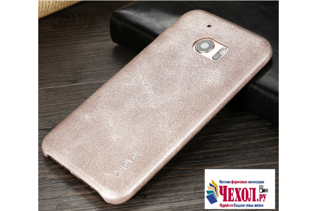 """Фирменная премиальная элитная крышка-накладка из тончайшего прочного пластика и качественной импортной кожи  для HTC 10 / HTC One M10 / Lifestyle 10 5.2""""  """"Ретро под старину"""" серая"""