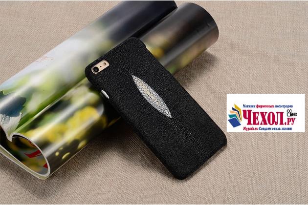 """Фирменная роскошная эксклюзивная накладка  из натуральной рыбьей кожи СКАТА (с жемчужным блеском) черная для HTC 10 / HTC One M10 / Lifestyle 10 5.2"""" Только в нашем магазине. Количество ограничено"""