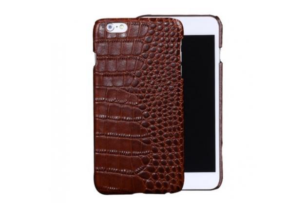 """Фирменная роскошная эксклюзивная накладка с объёмным 3D изображением рельефа кожи крокодила коричневая для HTC 10 / HTC One M10 / Lifestyle 10 5.2"""". Только в нашем магазине. Количество ограничено"""