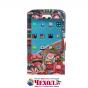 Фирменный чехол-книжка с безумно красивым расписным кислотным-мульти-рисунком на HTC 10 / HTC One M10 / Lifest..