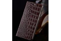 Фирменный роскошный эксклюзивный чехол с фактурной прошивкой рельефа кожи крокодила и визитницей коричневый для HTC 10 / HTC One M10 / Lifestyle 10 5.2. Только в нашем магазине. Количество ограничено