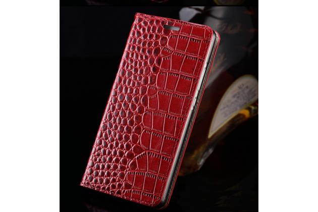 Фирменный роскошный эксклюзивный чехол с фактурной прошивкой рельефа кожи крокодила и визитницей красный для HTC 10 / HTC One M10 / Lifestyle 10 5.2. Только в нашем магазине. Количество ограничено