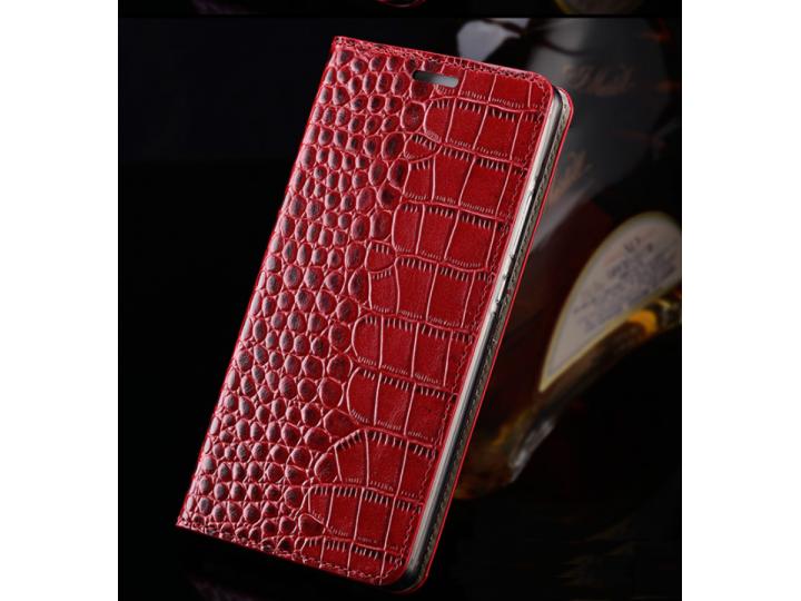 Фирменный роскошный эксклюзивный чехол с фактурной прошивкой рельефа кожи крокодила и визитницей красный для H..