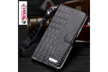 """Фирменный роскошный эксклюзивный чехол с фактурной прошивкой рельефа кожи крокодила и визитницей черный для  HTC 10 / HTC One M10 / Lifestyle 10 5.2"""" . Только в нашем магазине. Количество ограничено"""