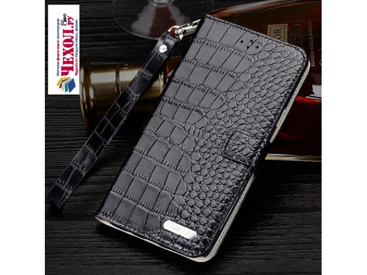 Фирменный роскошный эксклюзивный чехол с фактурной прошивкой рельефа кожи крокодила и визитницей черный для  H..