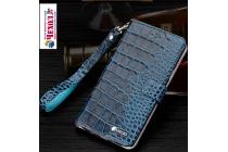 """Фирменный роскошный эксклюзивный чехол с фактурной прошивкой рельефа кожи крокодила и визитницей синий для  HTC 10 / HTC One M10 / Lifestyle 10 5.2"""" . Только в нашем магазине. Количество ограничено"""