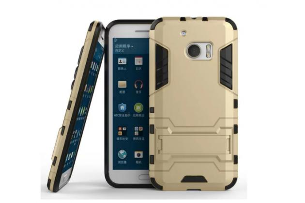 """Противоударный усиленный ударопрочный фирменный чехол-бампер-пенал для HTC 10 / HTC One M10 / Lifestyle 10 5.2"""" золотой"""