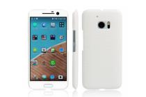 """Фирменная роскошная элитная премиальная задняя панель-крышка для HTC 10 / HTC One M10 / Lifestyle 10 5.2"""" из кожи крокодила белая"""