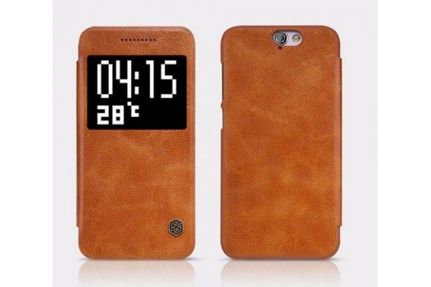 """Фирменный чехол-книжка для HTC One A9/HTC Aero/HTC A9w 5.0"""" коричневый с окошком для входящих вызовов из импортной кожи"""