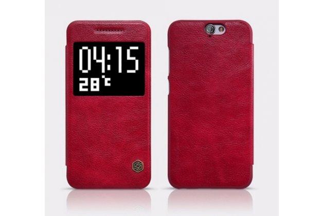 """Фирменный чехол-книжка для HTC One A9/HTC Aero/HTC A9w 5.0"""" красный с окошком для входящих вызовов из импортной кожи"""
