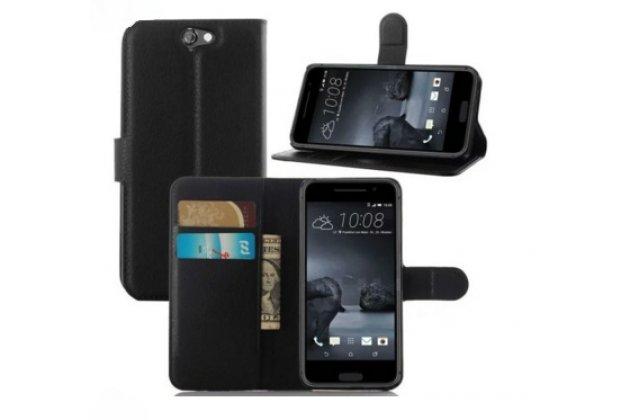 """Фирменный чехол-книжка из качественной импортной кожи с подставкой застёжкой и визитницей для ХТС Ван А9/ХТС Аэро/ХТС А9Ве/HTC One A9/HTC Aero/HTC A9w 5.0"""" черный"""