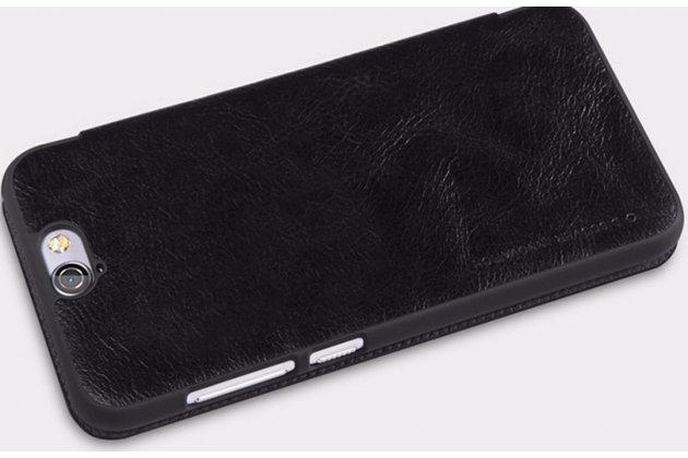"""Фирменный чехол-книжка для HTC One A9/HTC Aero/HTC A9w 5.0"""" черный с окошком для входящих вызовов из импортной кожи"""