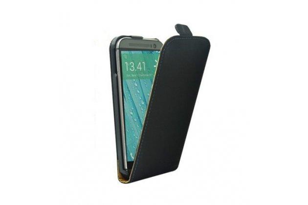 """Фирменный оригинальный вертикальный откидной чехол-флип для HTC One A9/HTC Aero/HTC A9w 5.0""""  черный кожаный """"Prestige"""" Италия"""