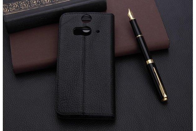 """Фирменный оригинальный чехол-книжка для HTC Butterfly 2 5.0"""" черный кожаный с окошком для входящих вызовов"""