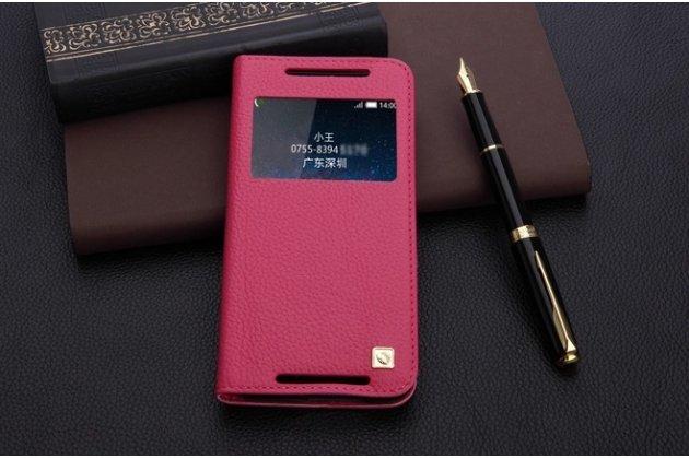 """Фирменный оригинальный чехол-книжка на HTC Butterfly 2 5.0"""" малиновый кожаный с окошком для входящих вызовов"""
