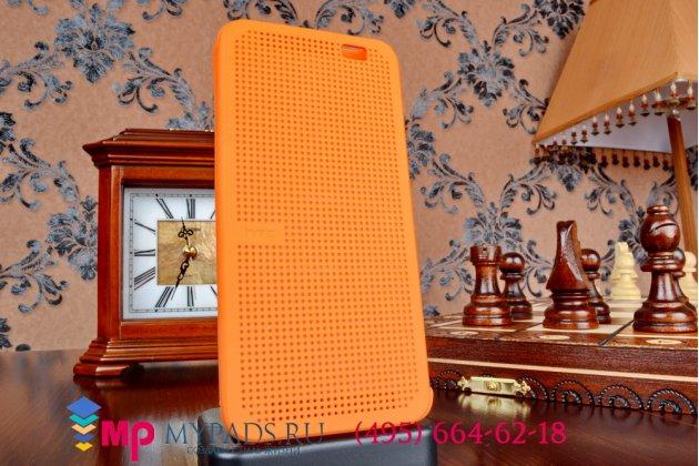 Чехол с мультяшной 2D графикой и функцией засыпания для HTC Butterfly 2 B810X в точечку с дырочками прорезиненный с перфорацией оранжевый