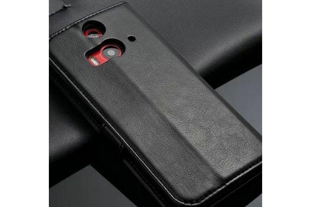 Фирменный чехол-книжка из качественной импортной кожи с подставкой застёжкой и визитницей для HTC Butterfly 2 черный