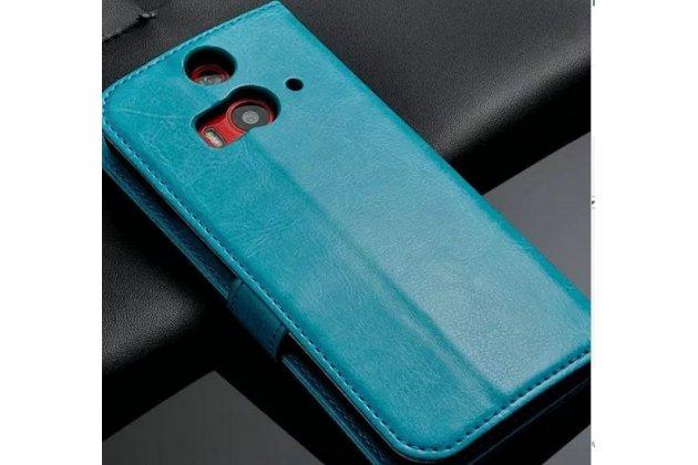 Фирменный чехол-книжка из качественной импортной кожи с подставкой застёжкой и визитницей для HTC Butterfly 2 B810X бирюзовый