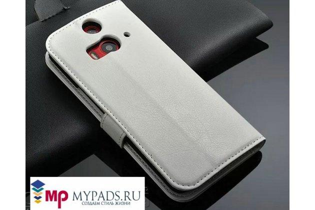 Фирменный чехол-книжка из качественной импортной кожи с подставкой застёжкой и визитницей для HTC Butterfly 2 B810X белый