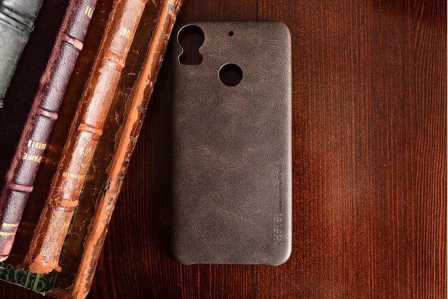 Фирменная премиальная элитная крышка-накладка из тончайшего прочного пластика и качественной импортной кожи для HTC Desire 10 Pro  Ретро под старину коричневая