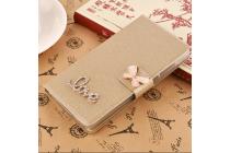 Фирменный роскошный чехол-книжка безумно красивый декорированный бусинками и кристаликами на HTC Desire 10 Pro золотой