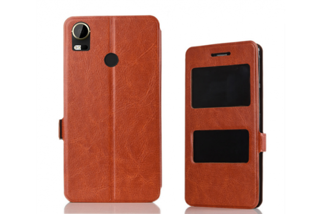 Фирменный чехол-книжка для HTC Desire 10 Pro коричневый с окошком для входящих вызовов и свайпом водоотталкивающий