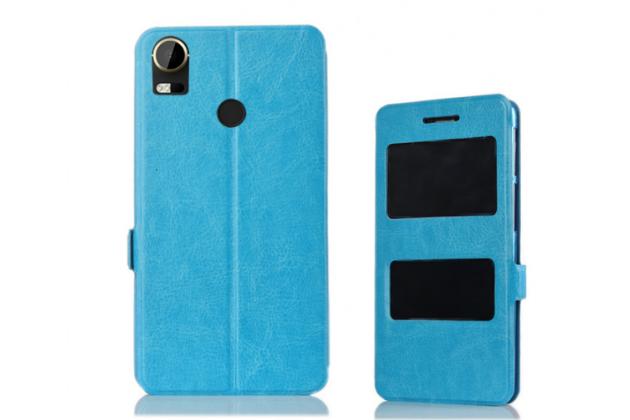 Фирменный чехол-книжка для HTC Desire 10 Pro голубой с окошком для входящих вызовов и свайпом водоотталкивающий