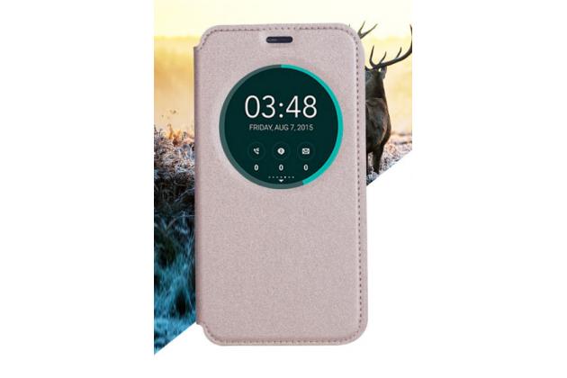 Фирменный оригинальный чехол-книжка для HTC Desire 10 Pro золотой с окошком для входящих вызовов водоотталкивающий