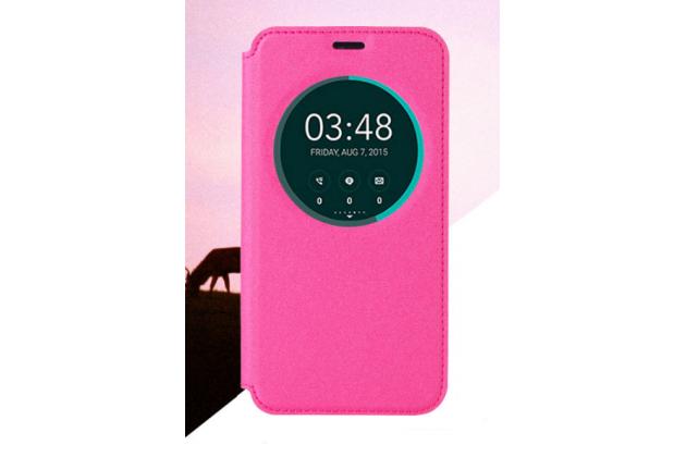 Фирменный оригинальный чехол-книжка для HTC Desire 10 Pro розовый с окошком для входящих вызовов водоотталкивающий