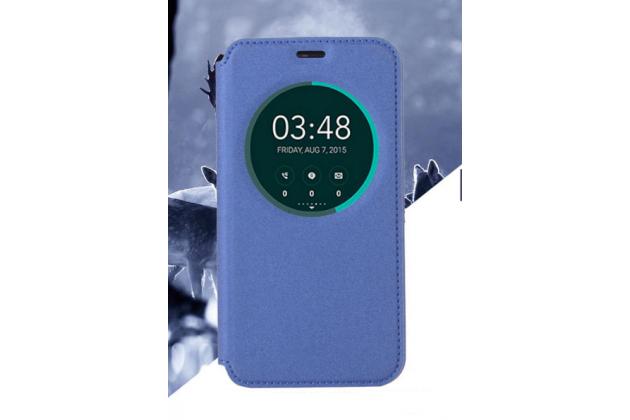 Фирменный оригинальный чехол-книжка для HTC Desire 10 Pro синий с окошком для входящих вызовов водоотталкивающий