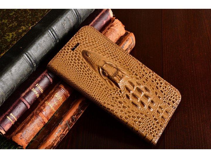 Фирменный роскошный эксклюзивная накладка с объёмным 3D изображением кожи крокодила коричневый для HTC Bolt/HT..